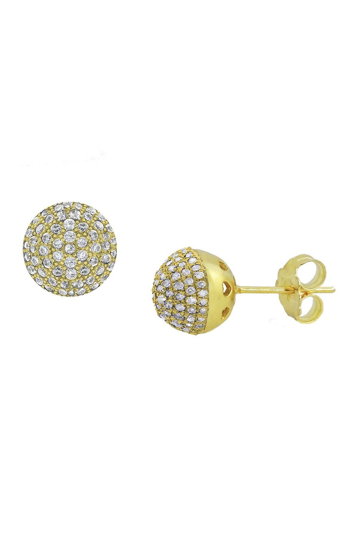 Image of Savvy Cie 18K Gold Vermeil Micro Pave Cubic Zirconia Ball Stud Earrings