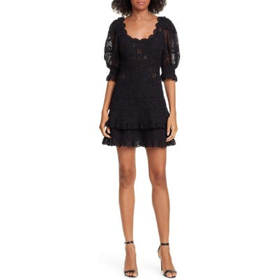 Jonathan Simkhai Puff Sleeve Crochet Lace Minidress, Black