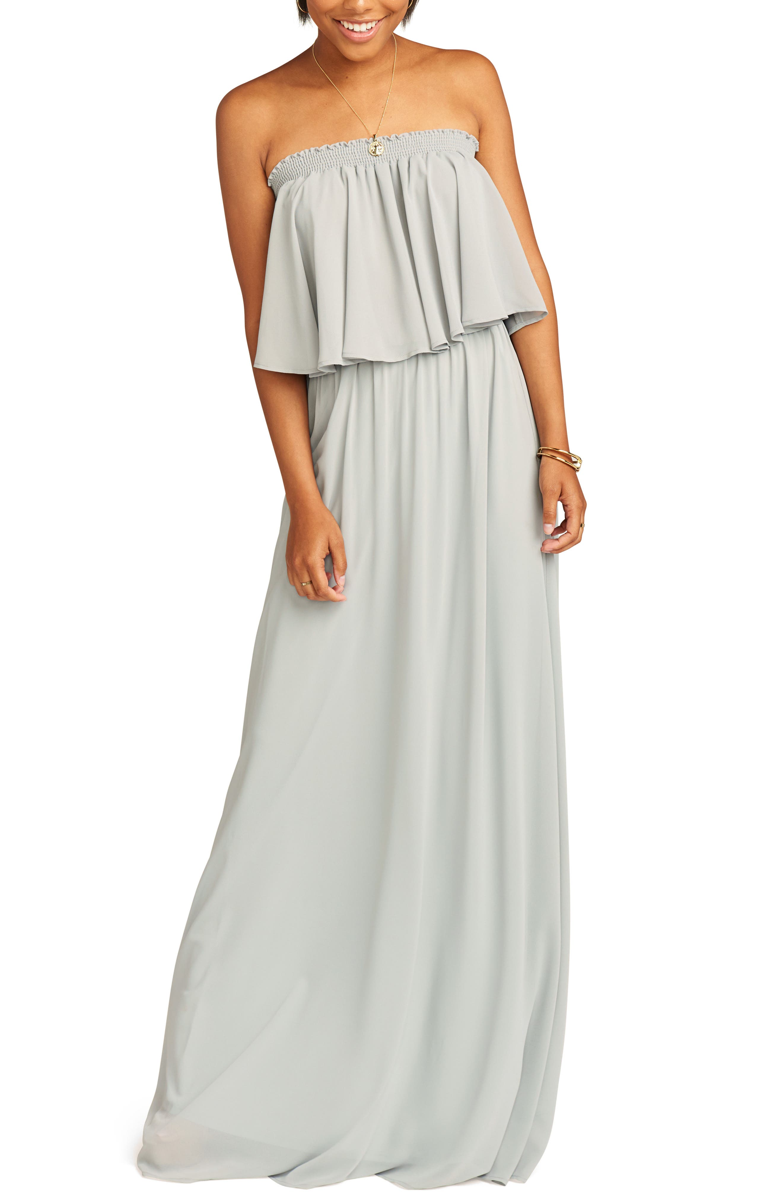 Show Me Your Mumu Hacienda Convertible Gown, Grey