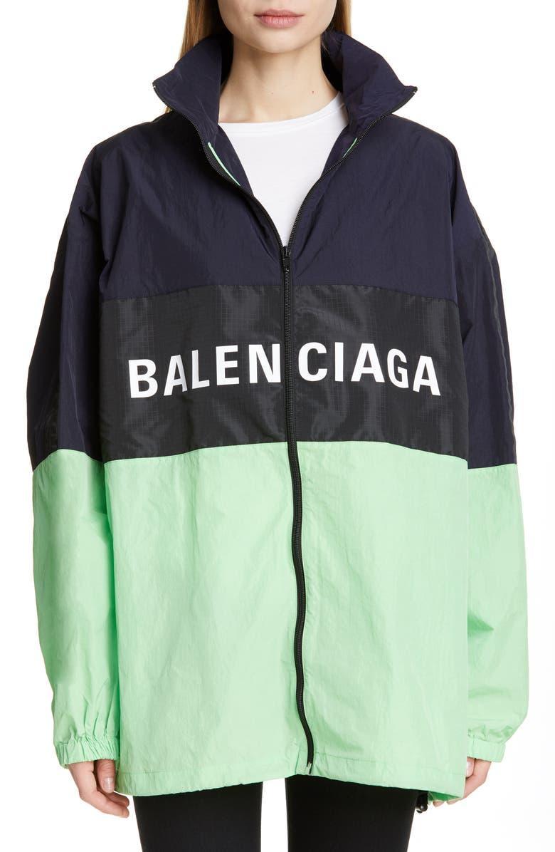 BALENCIAGA Logo Colorblock Windbreaker Jacket, Main, color, FLUO GREEN