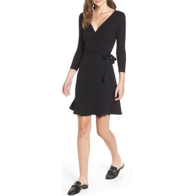Amour Vert Theodora Rib Wrap Dress, Black