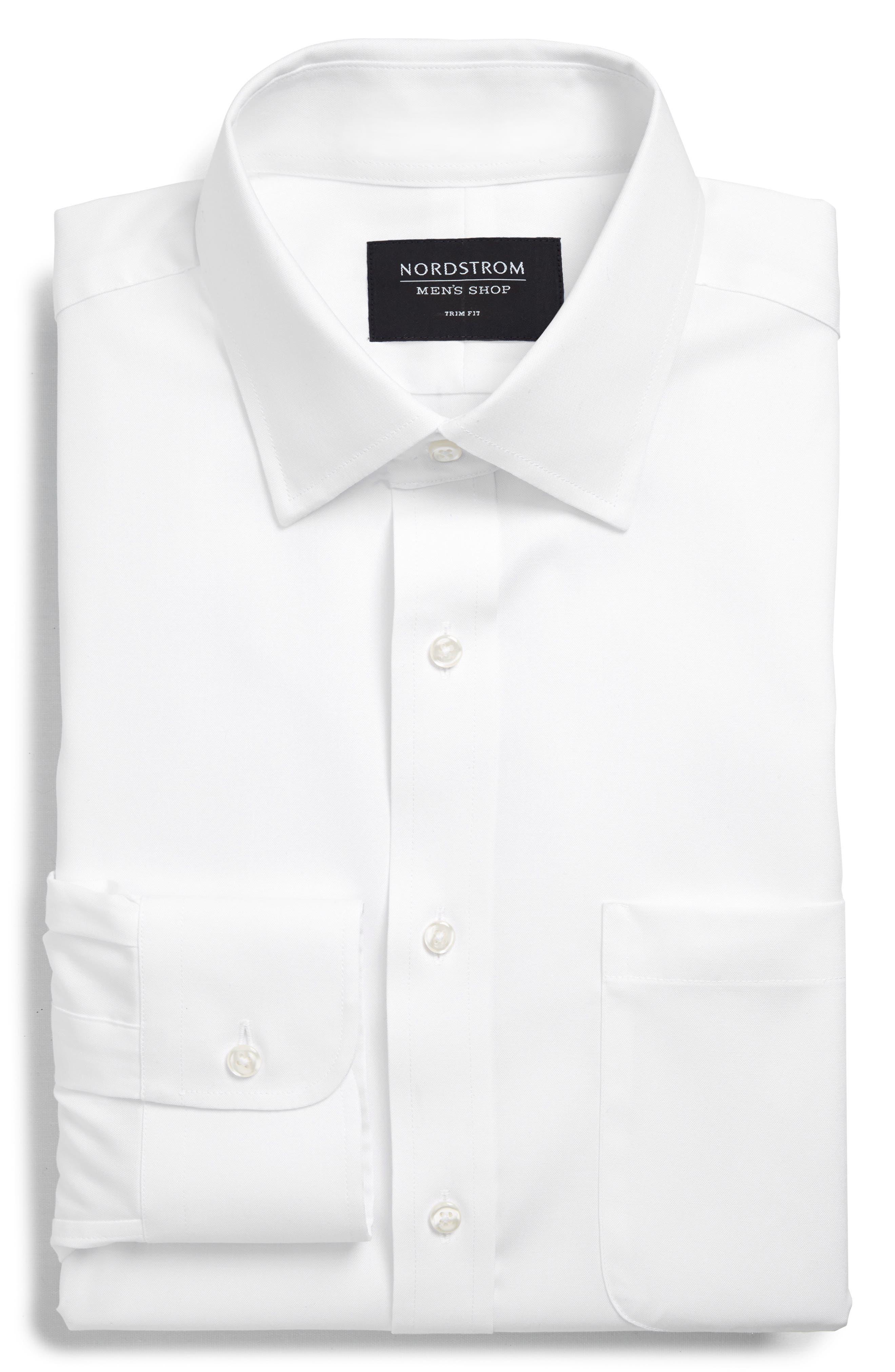 ,                             Trim Fit Non-Iron Dress Shirt,                             Alternate thumbnail 5, color,                             WHITE