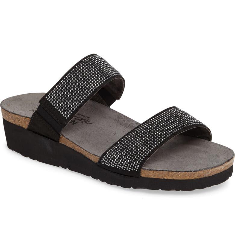 NAOT 'Bianca' Slide Sandal, Main, color, BLACK LEATHER
