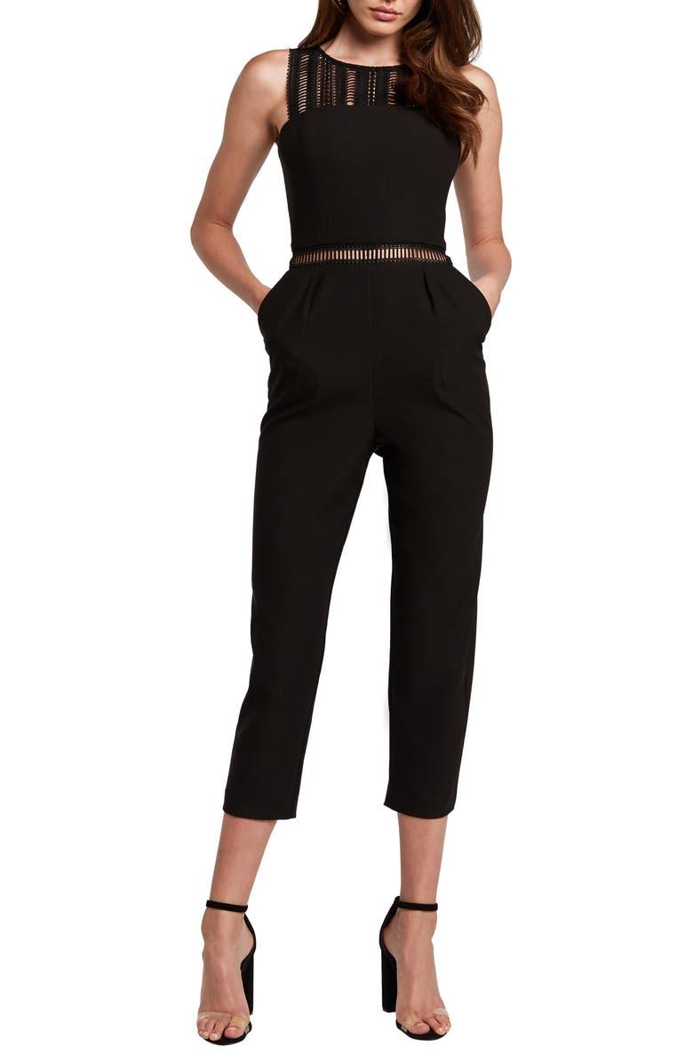 BARDOT Lace Trim Crop Jumpsuit, Main, color, BLACK