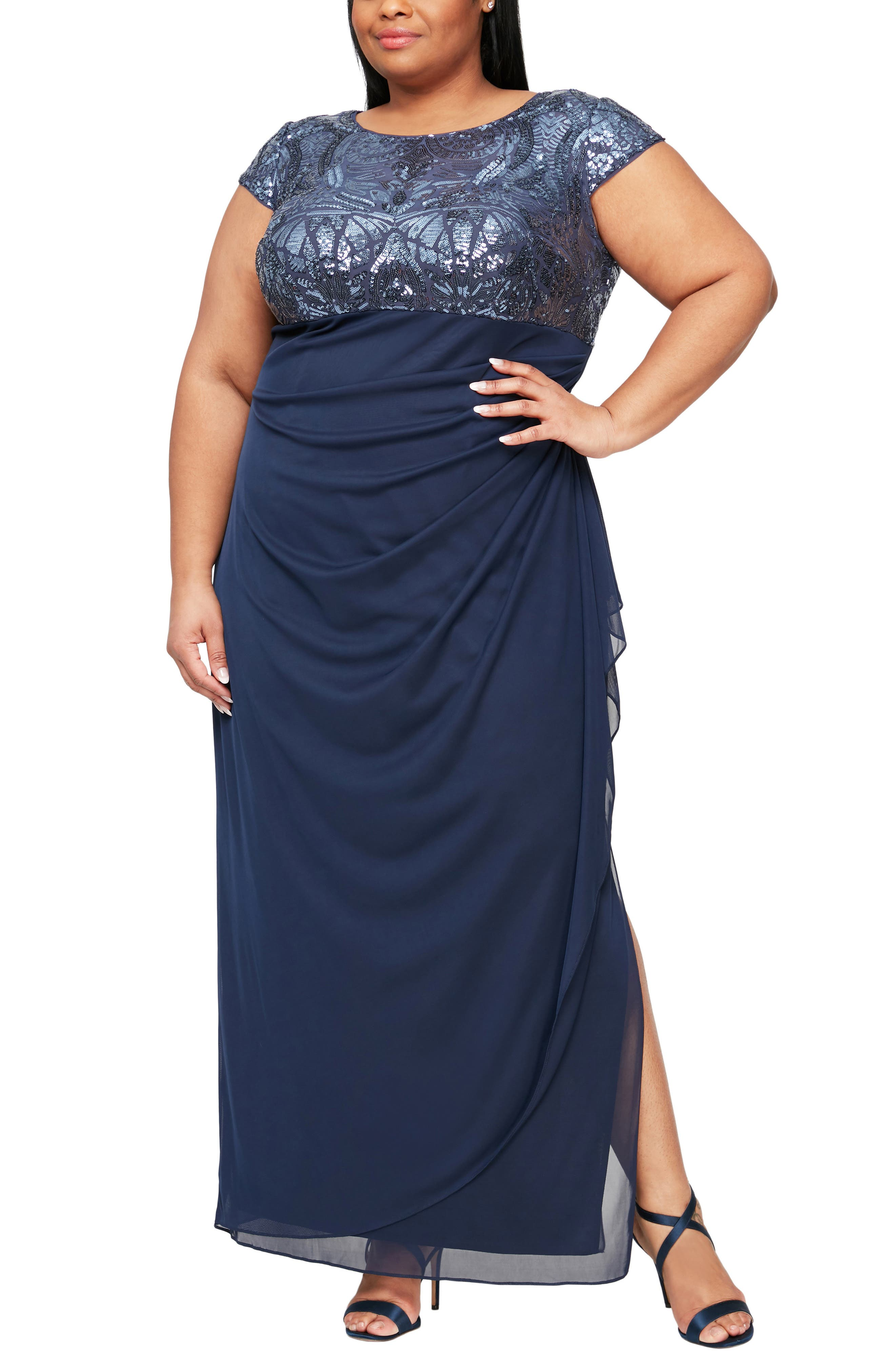 Sequin Lace & Ruched Chiffon Gown