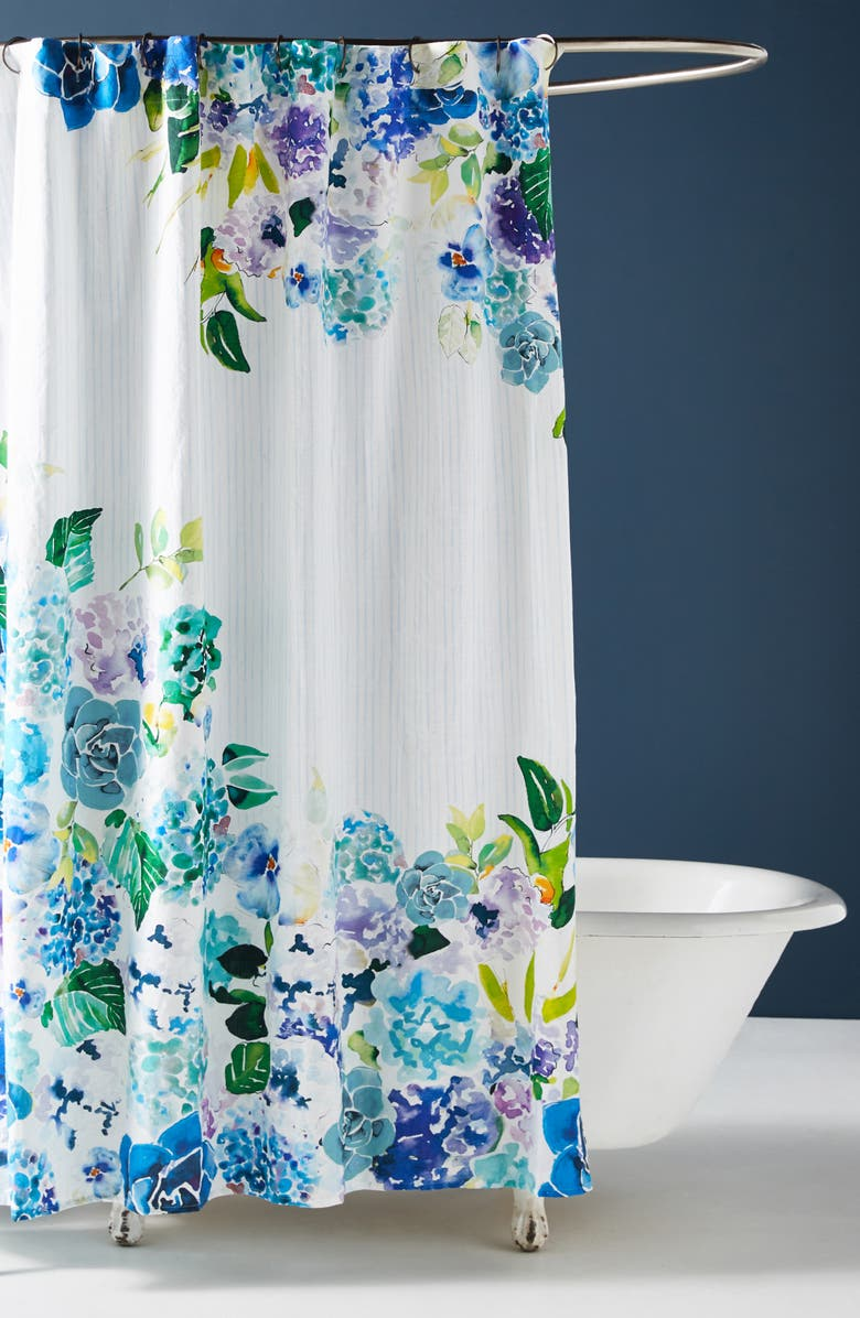 ANTHROPOLOGIE Sarah Hackinson Shower Curtain, Main, color, BLUE