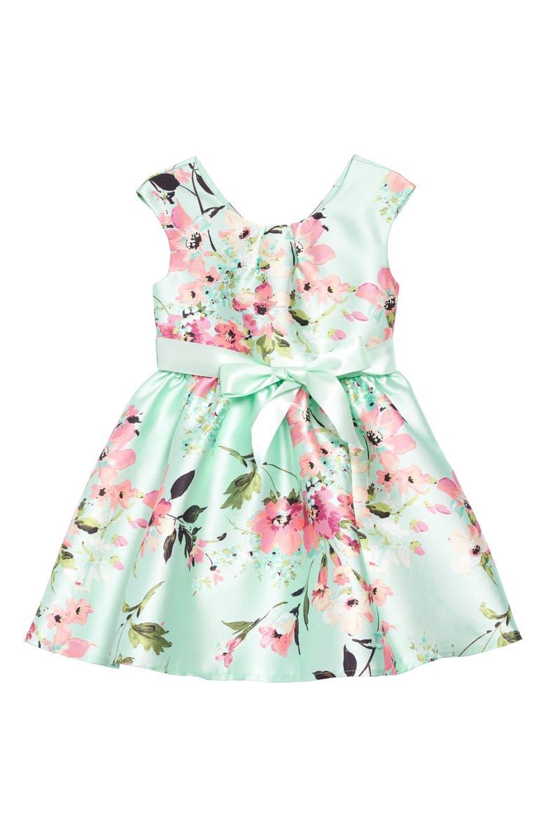 ZUNIE Print Sleeveless Mikado Dress, Main, color, MINT FLORAL