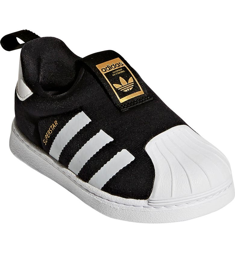 ADIDAS Superstar 360 I Sneaker, Main, color, CORE BLACK/ WHITE/ GOLD MET