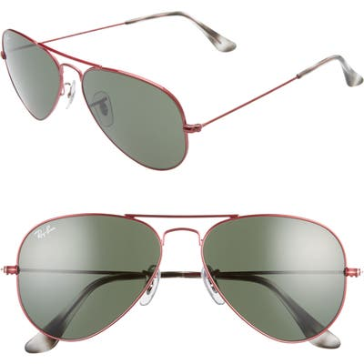 Ray-Ban Small Original 55Mm Aviator Sunglasses - Red/ Green Solid