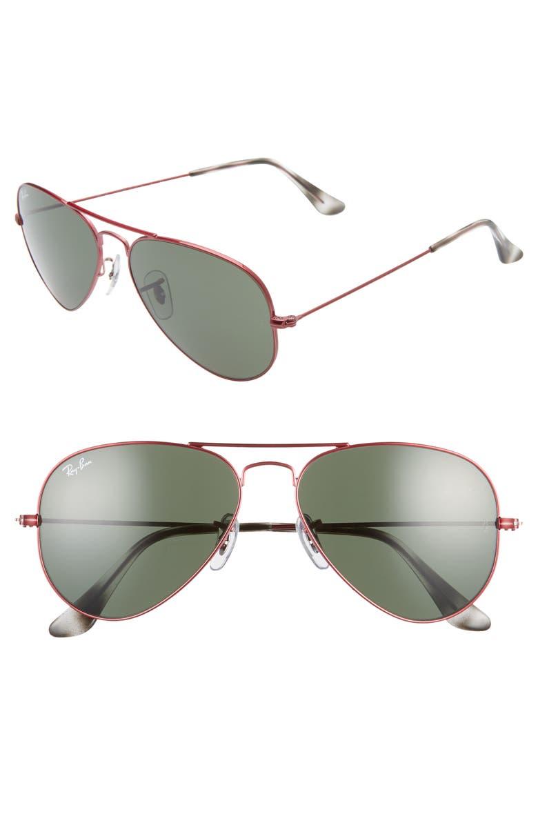 RAY-BAN Small Original 55mm Aviator Sunglasses, Main, color, RED/ GREEN SOLID