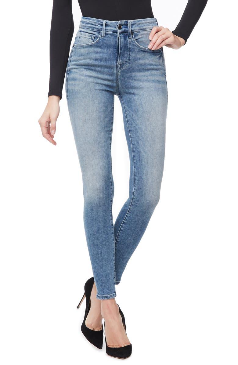 GOOD AMERICAN Good Waist Ripped High Waist Skinny Jeans, Main, color, BLUE262