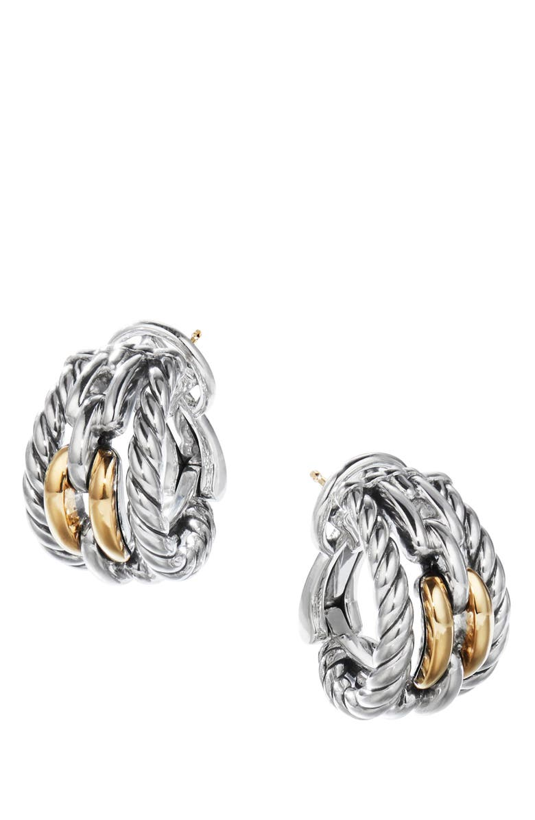 DAVID YURMAN Wellesley Link Hoop Earrings with 18K Gold, Main, color, 18K YELLOW GOLD/ SILVER