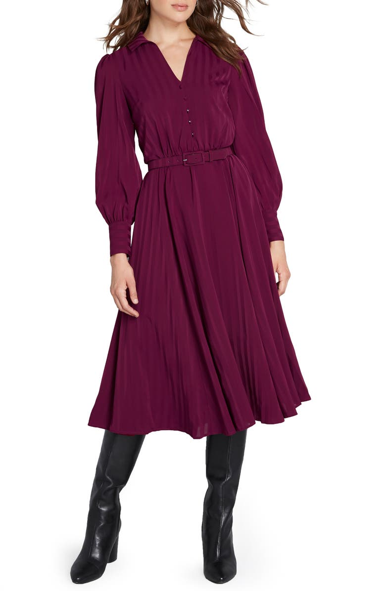 MODCLOTH Shadow Stripe Belted Long Sleeve Shirtdress, Main, color, RED