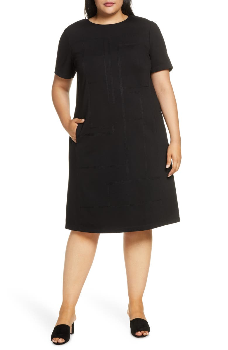 LAFAYETTE 148 NEW YORK Jacintha Tonal Stitch Shift Dress, Main, color, BLACK