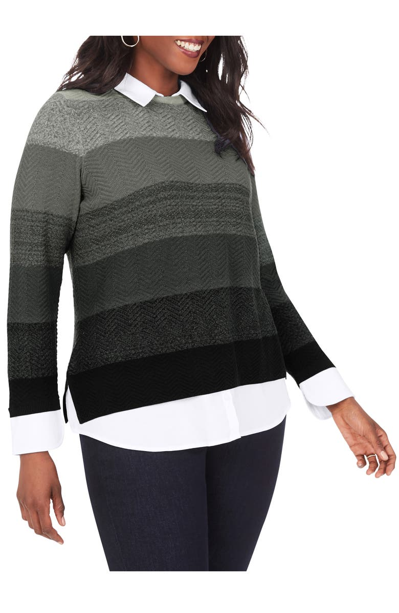 FOXCROFT Sanders Layered Sweater, Main, color, CHARCOAL