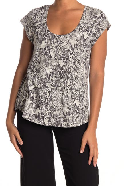 Image of Sanctuary Alma Animal Pattern Scoop Neck Tee