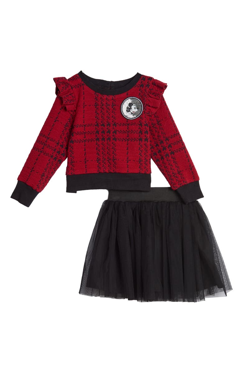 PIPPA & JULIE x Disney Mickey Mouse Double Knit Ruffle Sweater & Tutu Skirt Set, Main, color, RED/ BLACK