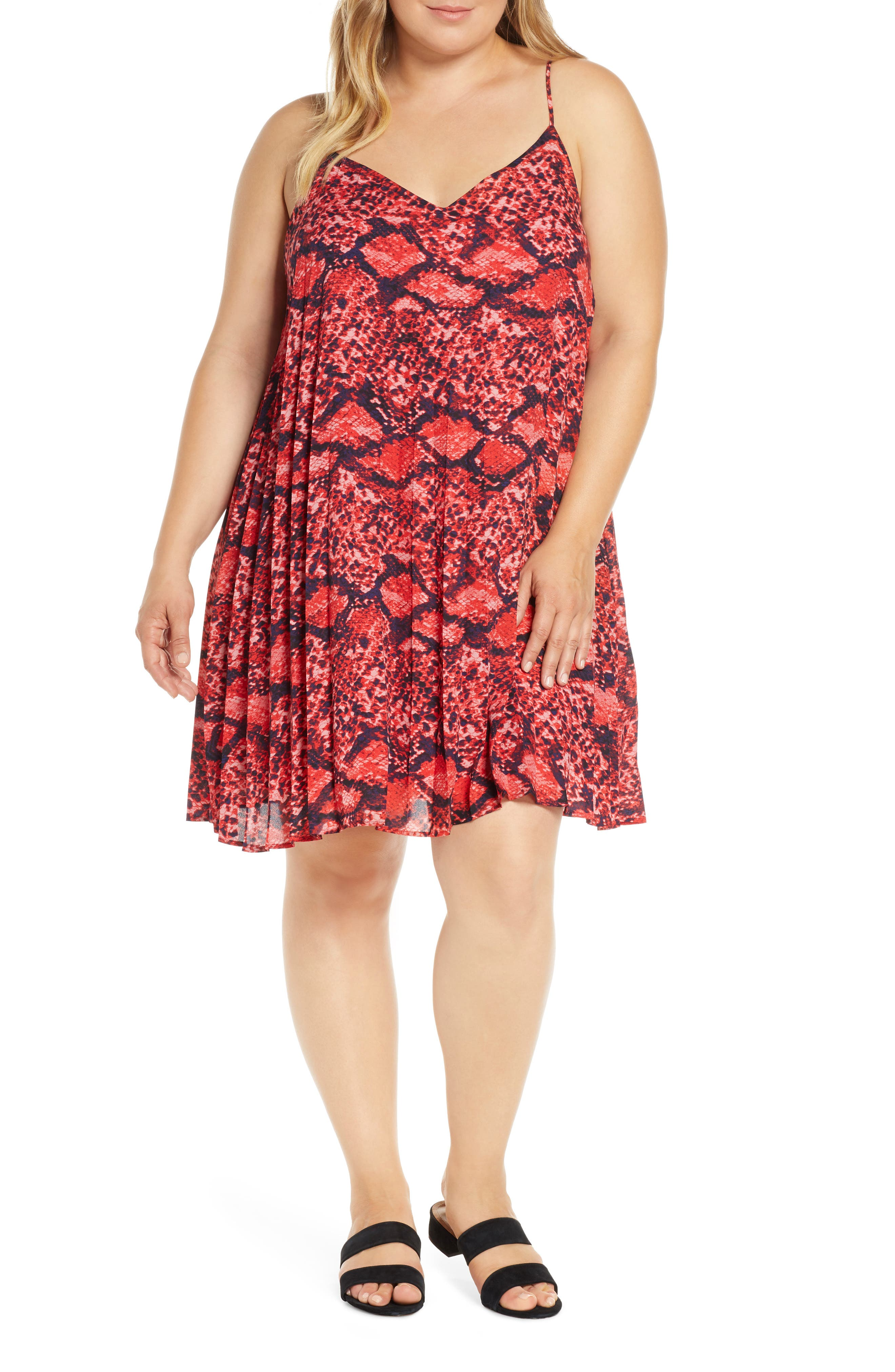 Plus Size Gibson X Hot Summer Nights Almost Ready Pleated Minidress, Red (Plus Size) (Nordstrom Exclusive)