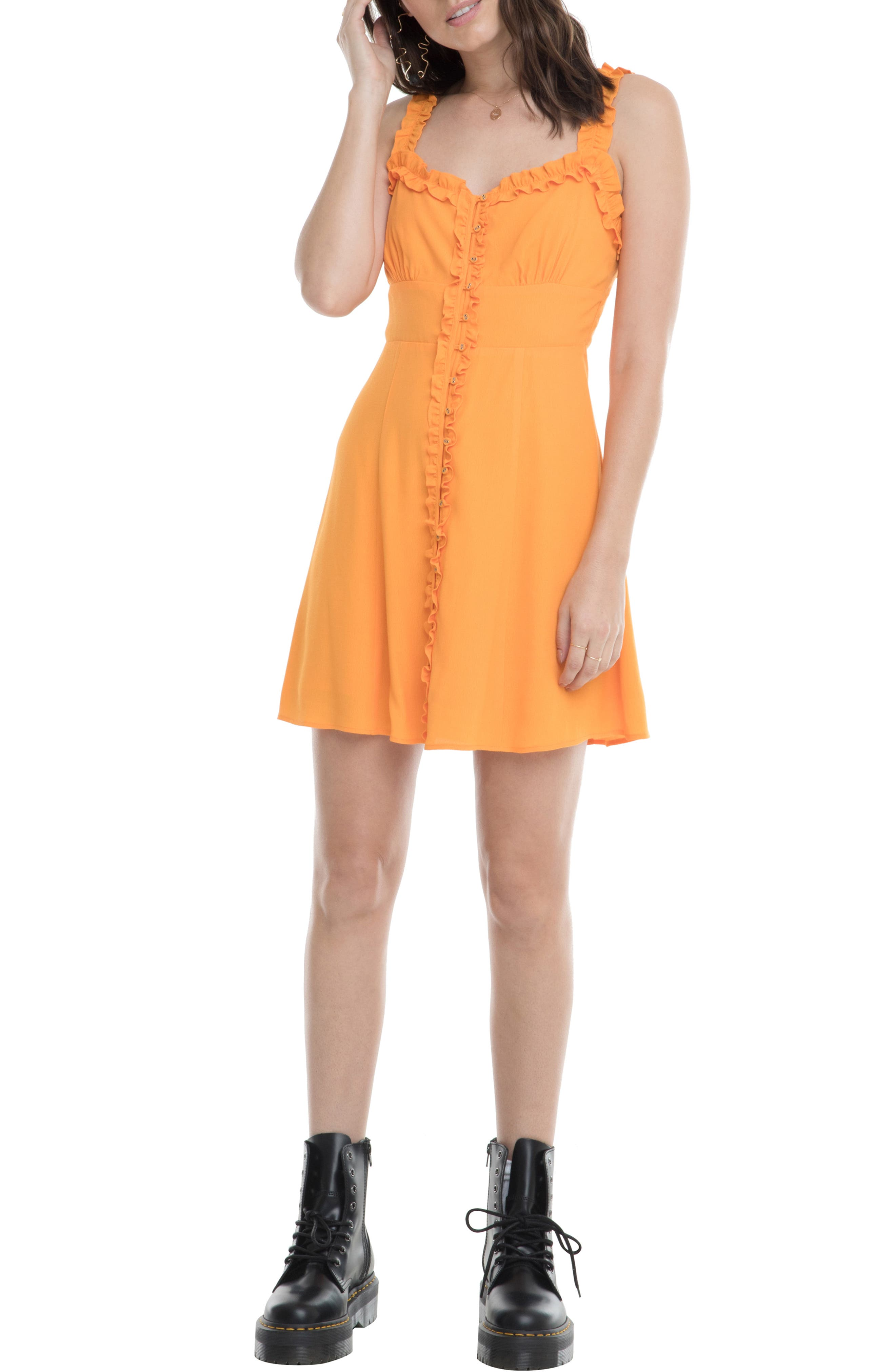 Astr The Label Frill Detail Sundress, Orange