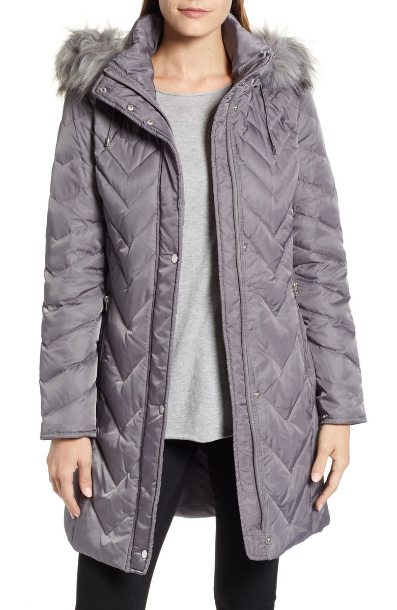 0e1502f7d4 Marc New York Matte Satin Chevron Faux Fur Trim Coat | Nordstrom