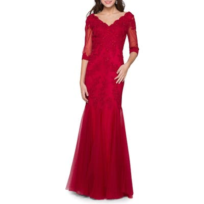 Marsoni Godet Lace & Chiffon Trumpet Gown, 4 (similar to 2) - Red