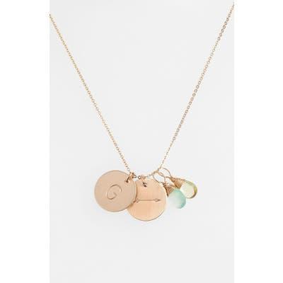 Nashelle Aqua Chalcedony, Lemon Quartz, Initial & Arrow 14K-Gold Fill Disc Necklace