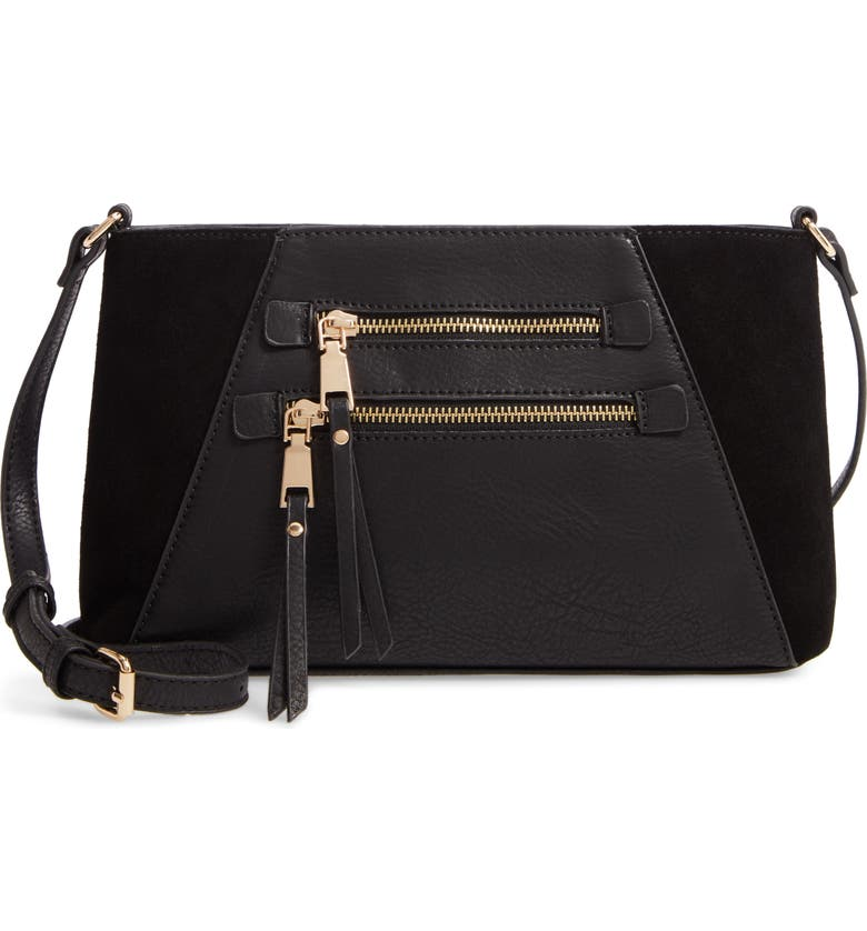 SOLE SOCIETY Chele Faux Leather & Genuine Suede Crossbody Bag, Main, color, BLACK