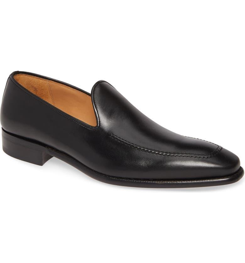 MEZLAN Curtana Slip-On Venetian Loafer, Main, color, BLACK LEATHER