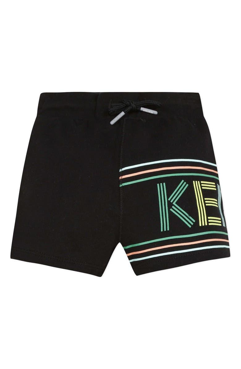 KENZO Logo Graphic Fleece Shorts, Main, color, BLACK