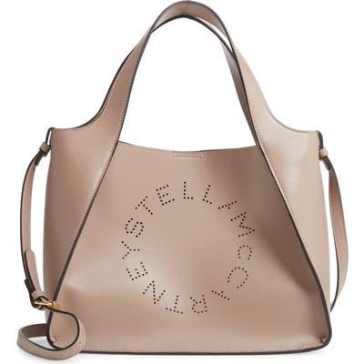 Stella Mccartney Perforated Logo Faux Leather Satchel - Beige