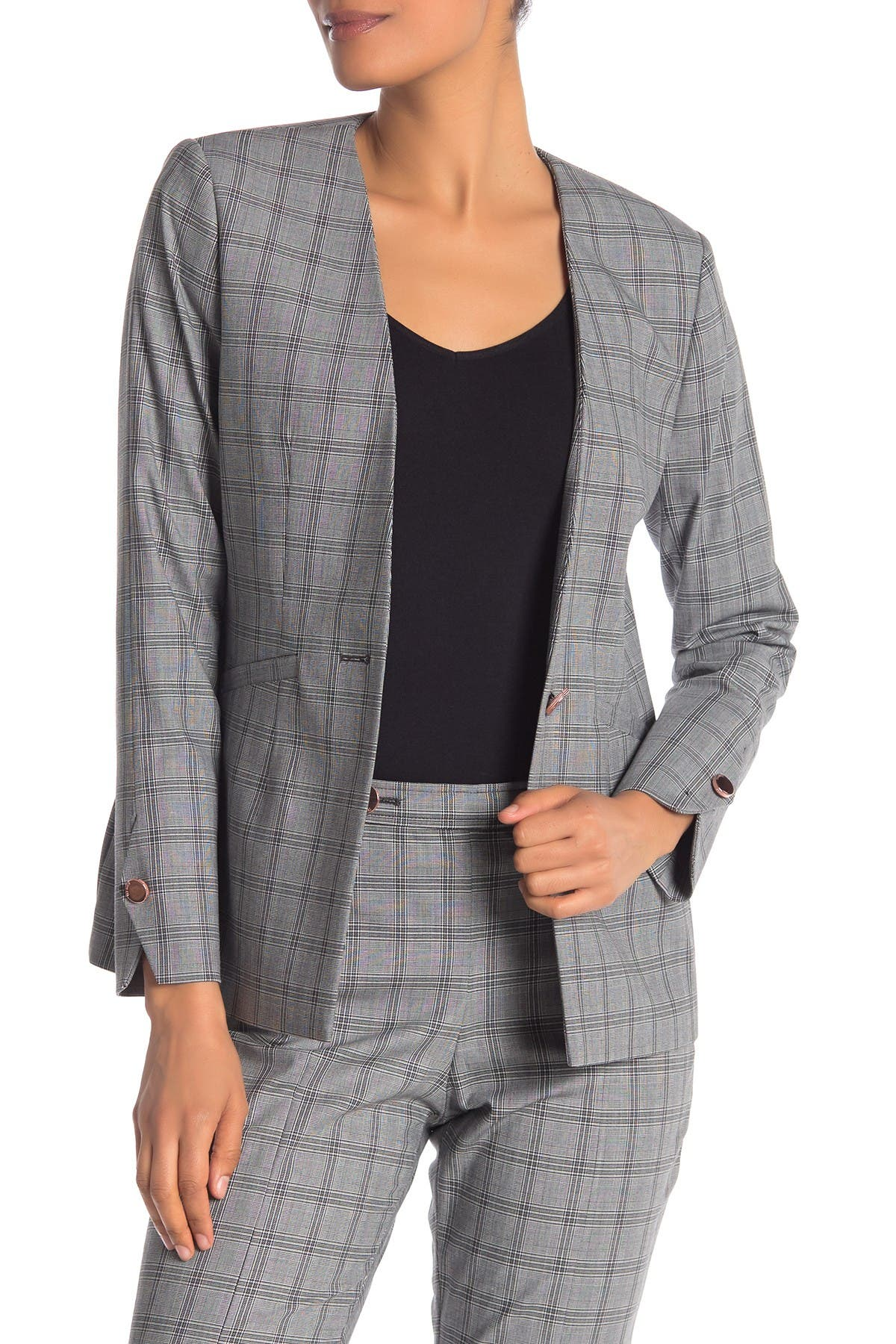 Image of Ted Baker London Collarless Check Jacket