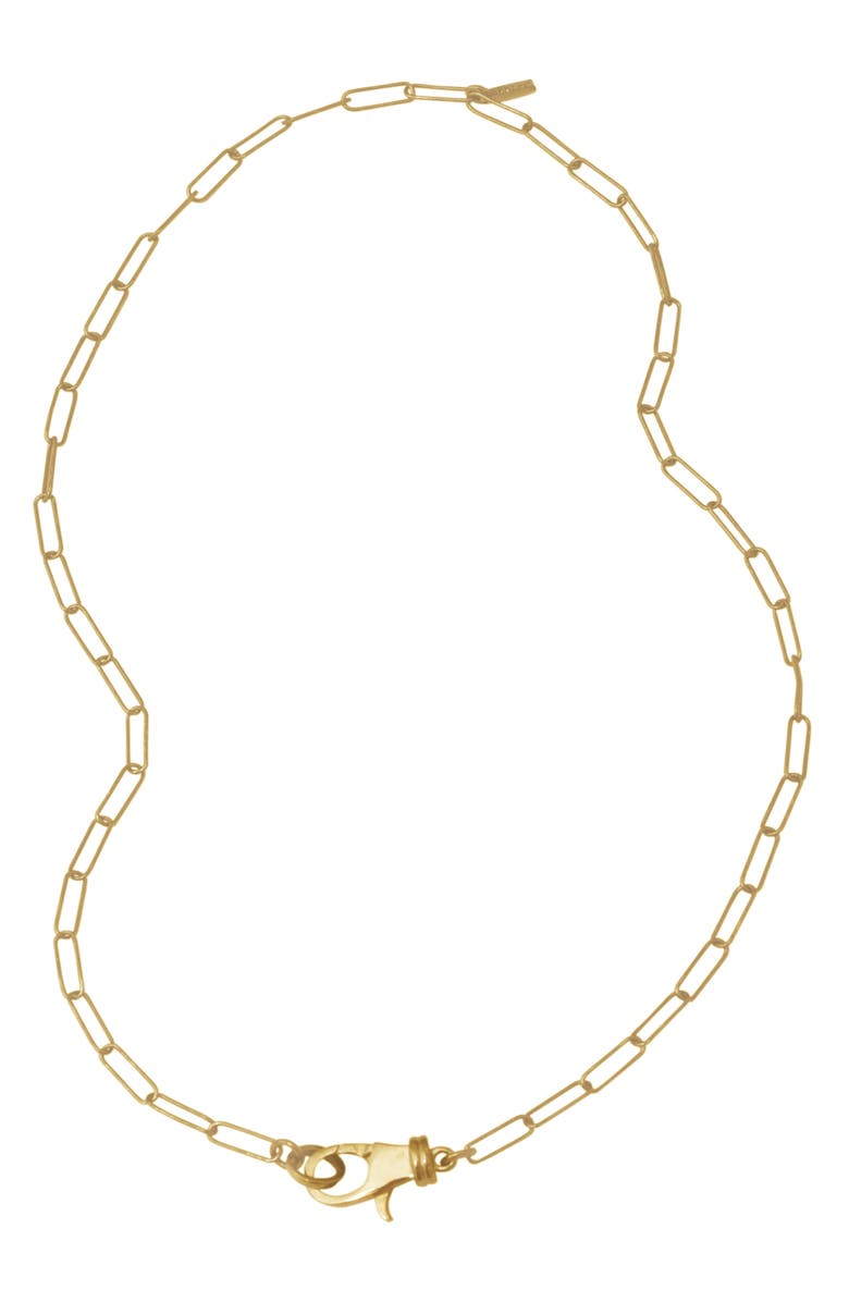 ADORNIA Lock Paper Clip Link Necklace, Main, color, GOLD