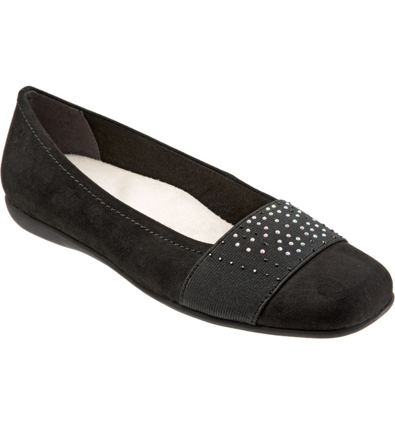 TROTTERS Samantha Flat, Main, color, BLACK SUEDE