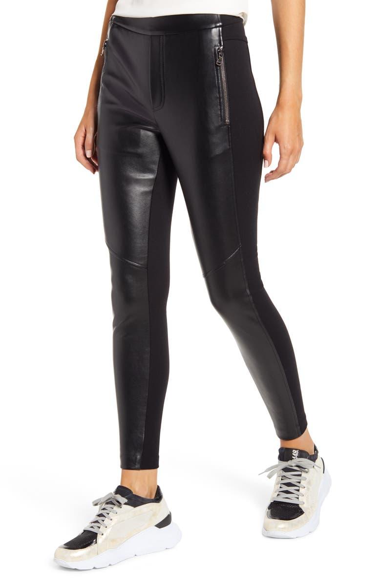 BAILEY 44 Frances Vegan Leather & Ponte Slim Pants, Main, color, BLACK