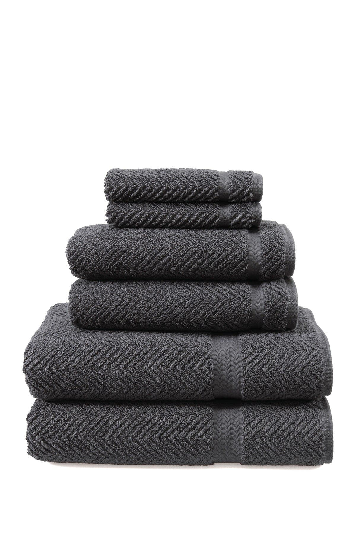 Image of LINUM HOME Grey Herringbone 6-Piece Towel Set