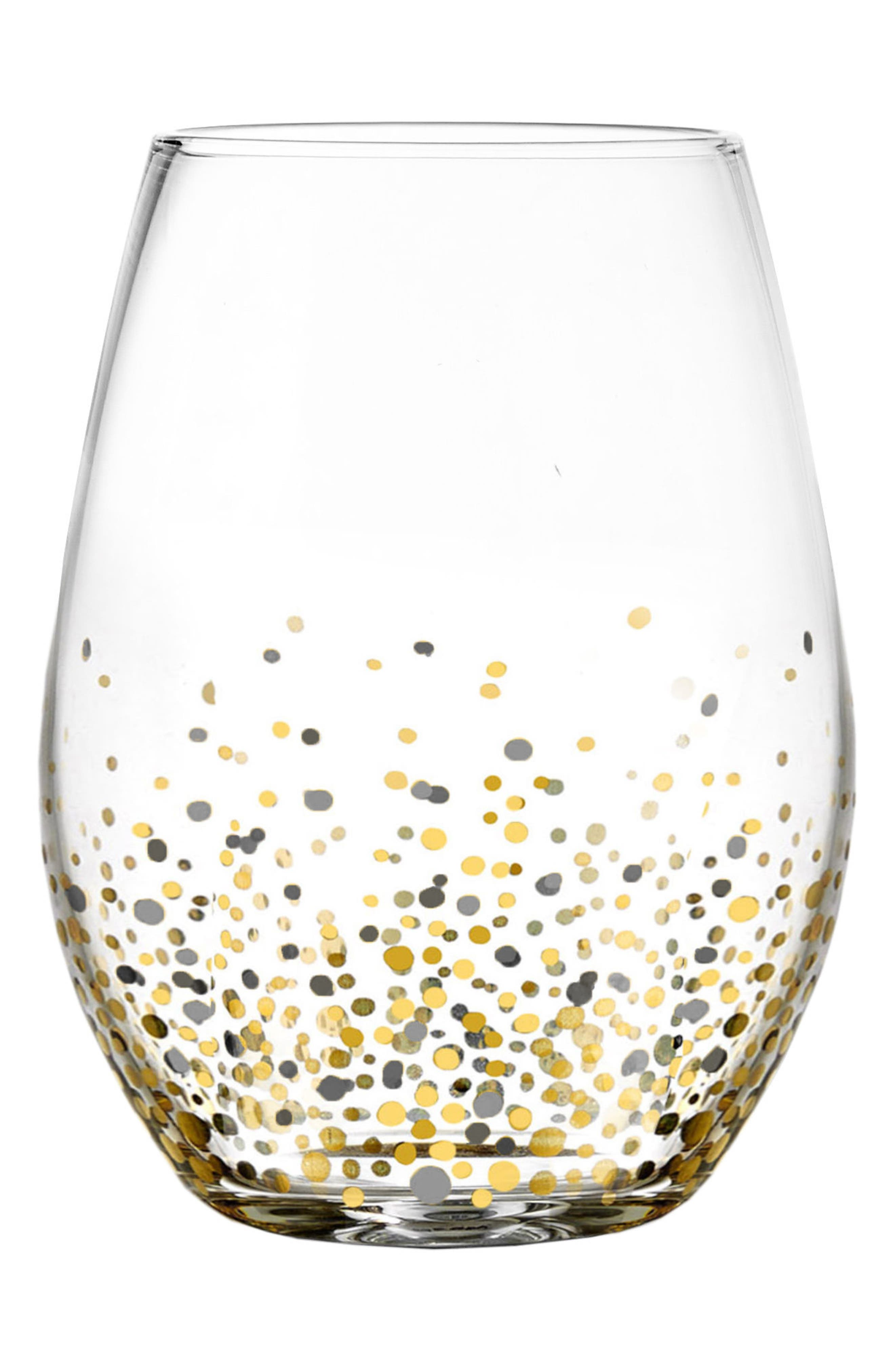 Image of American Atelier Set of 4 Confetti Stemless Wine Glasses