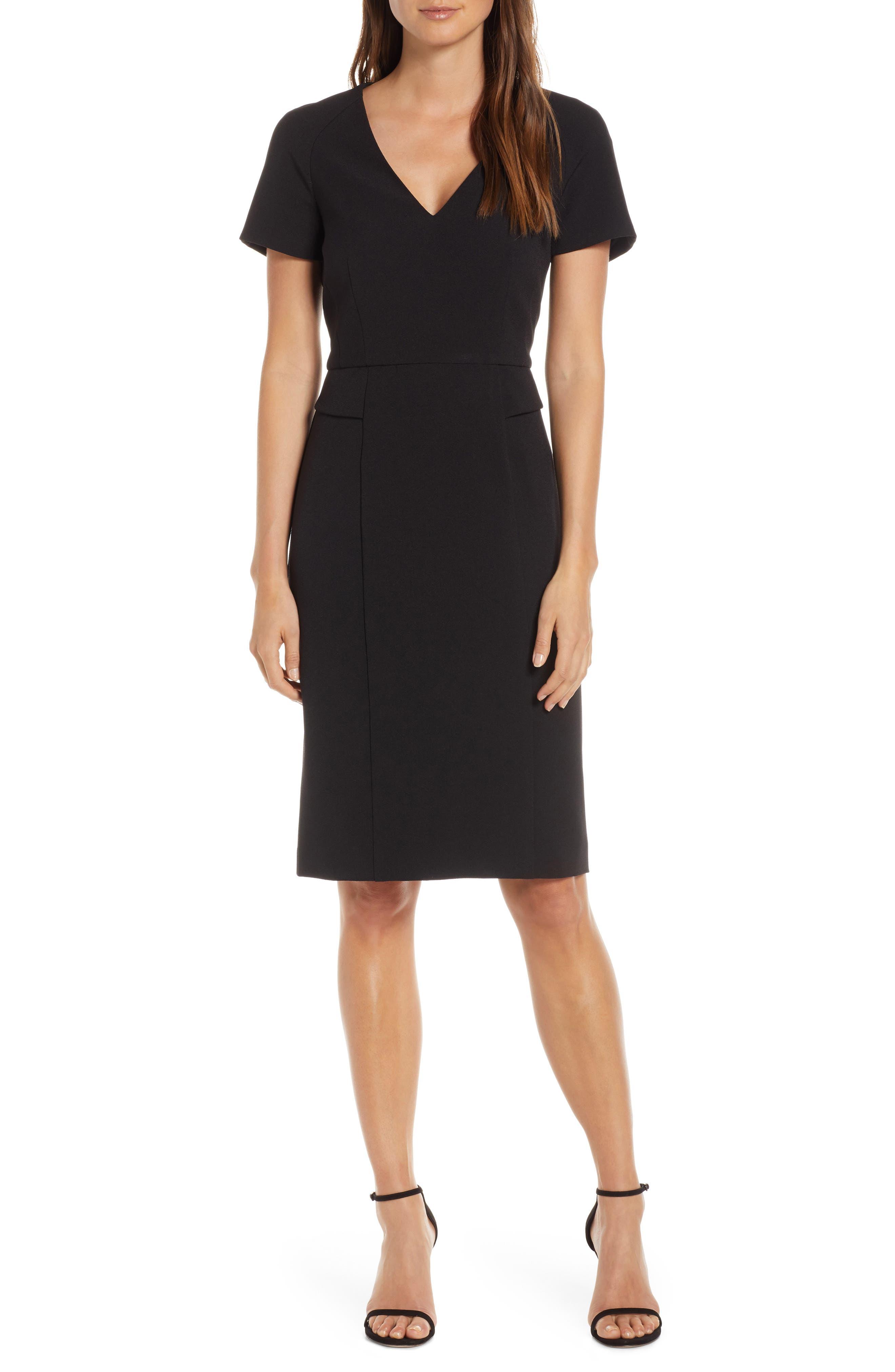 Petite Harper Rose Short Sleeve V-Neck Sheath Dress, Black