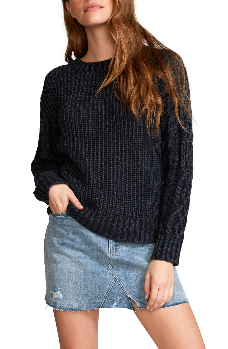 RVCA Ember Cable Sleeve Sweater, Main, color, NAVY