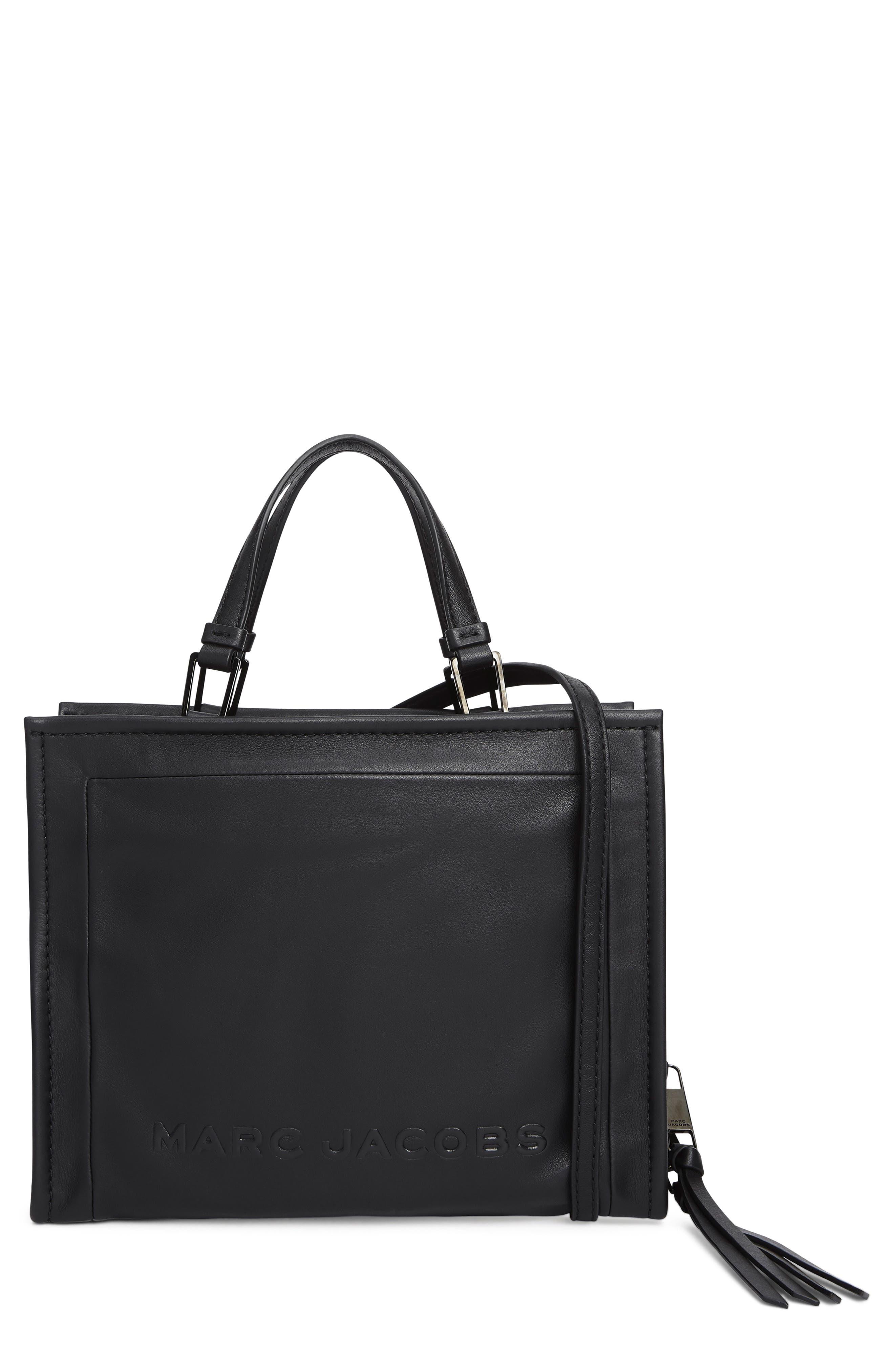 The Box 29 Leather Satchel, Main, color, BLACK