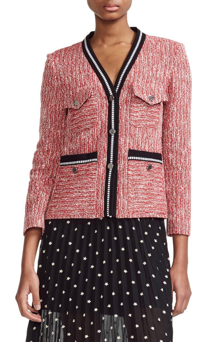 MAJE Vivor Tweed Jacket, Main, color, 600