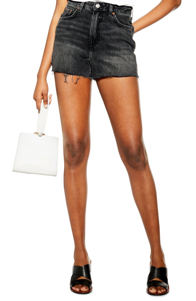TOPSHOP Denim Mom Shorts, Main, color, WASHED BLACK