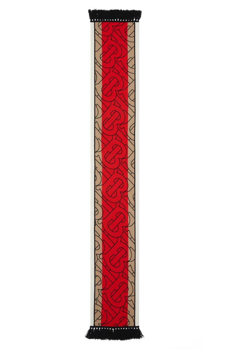 BURBERRY Football Stripe Monogram Cashmere Scarf, Main, color, ARCHIVE BEIGE