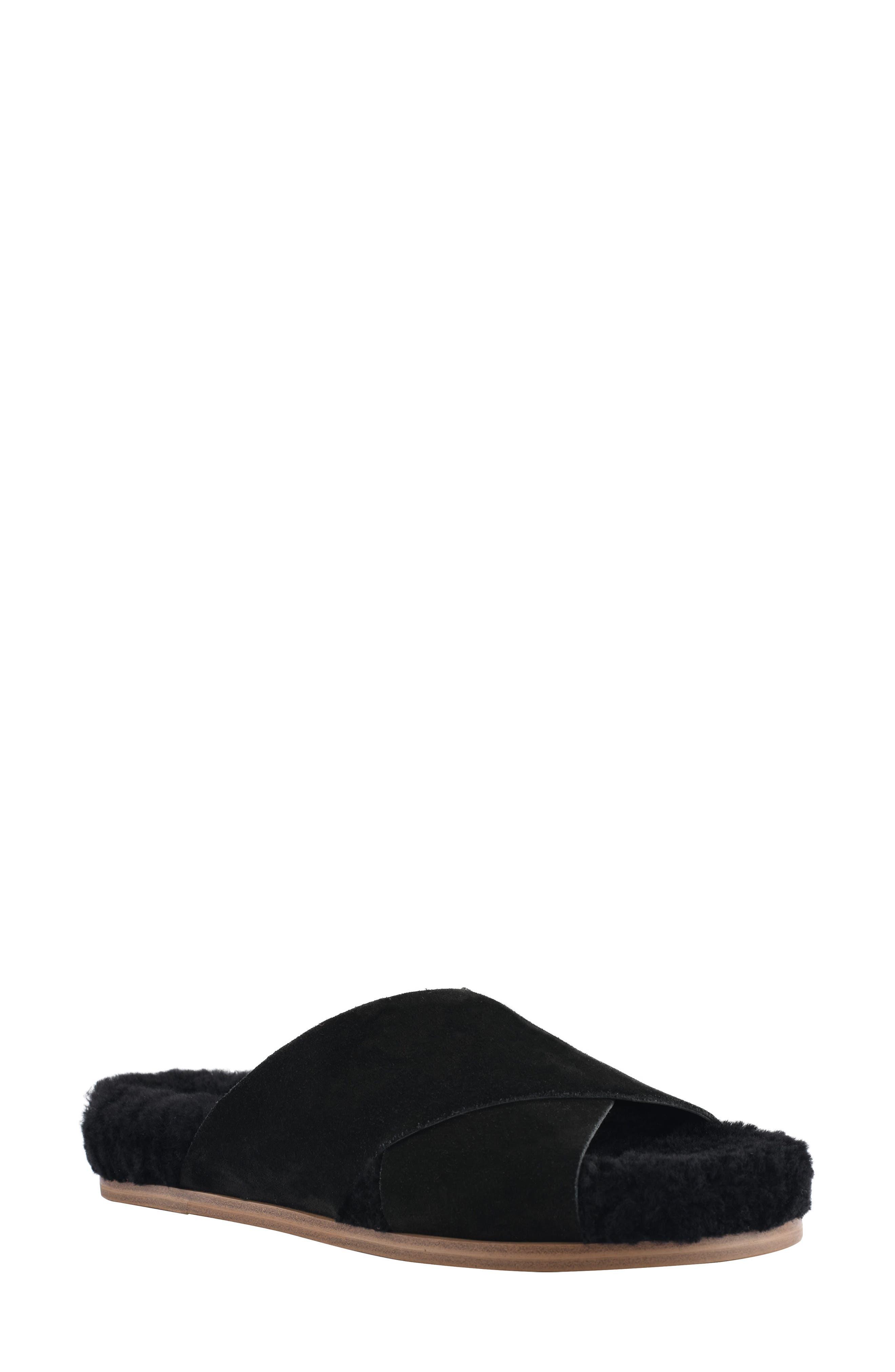 Canna Genuine Shearling Lined Slide Sandal