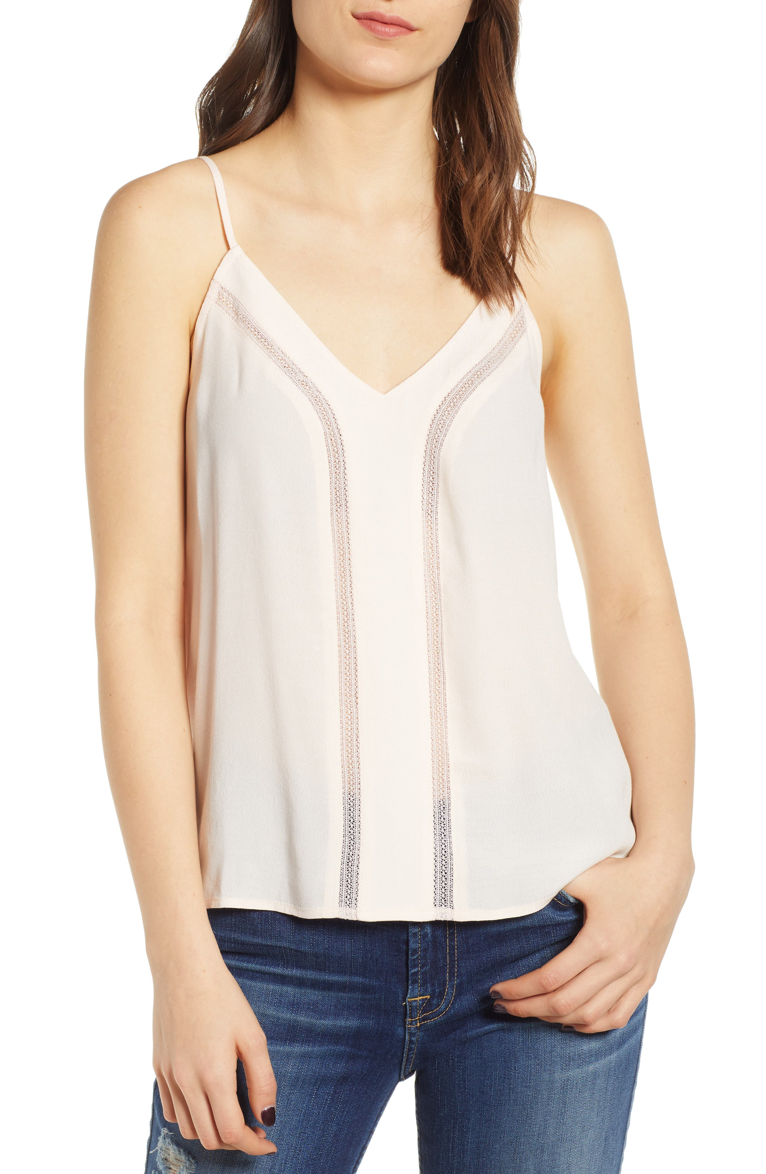 Hinge Lace Inset Camisole, Pink