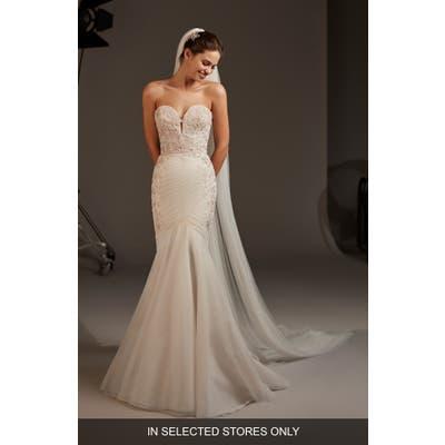 Pronovias Halo Embellished Strapless Mermaid Wedding Dress, Size - Ivory