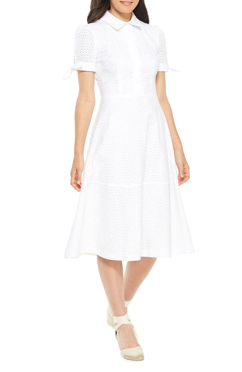 GAL MEETS GLAM COLLECTION Judith Puff Sleeve Cotton Eyelet Dress, Main, color, 101
