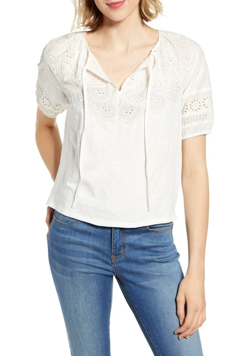 e314e4225edaad Eyelet Embroidered Peasant Top, Main, color, BRIGHT WHITE
