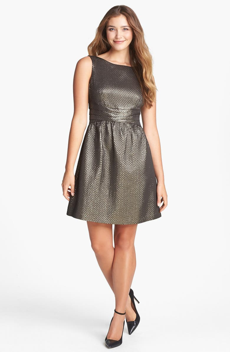 IVY & BLU Metallic Jacquard Fit & Flare Dress, Main, color, 714