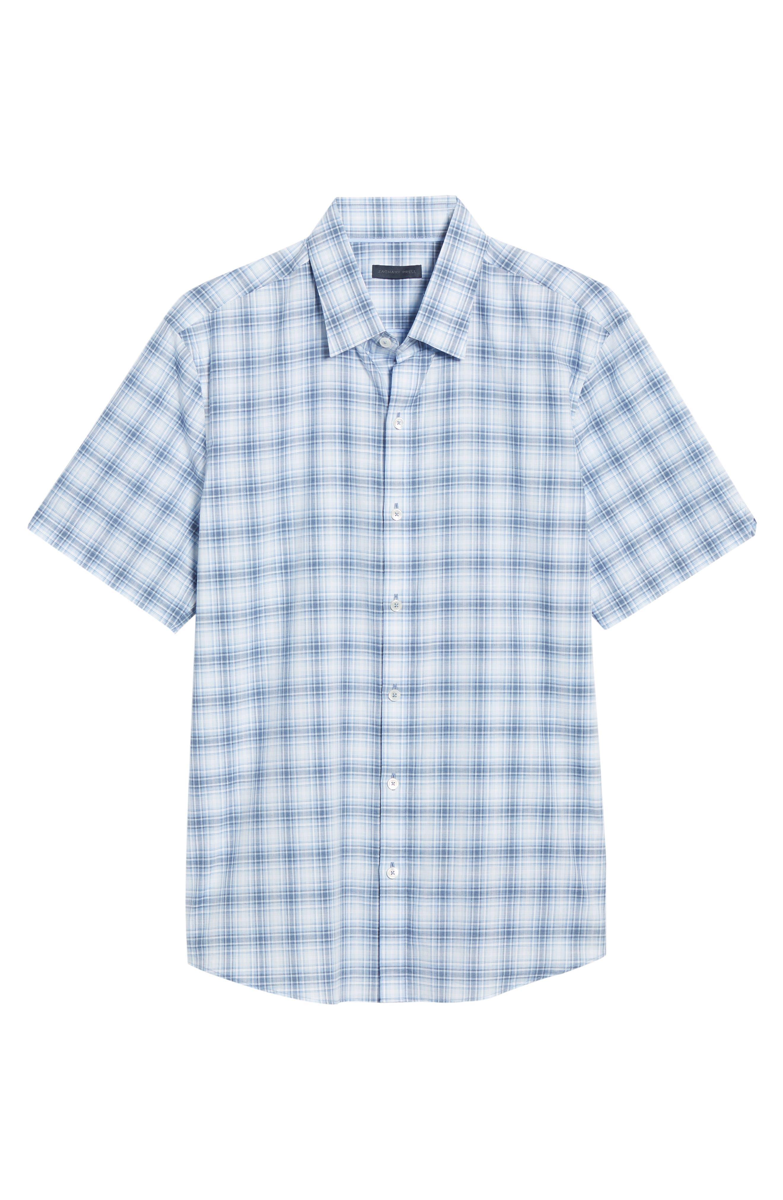 ,                             Bianco Regular Fit Plaid Sport Shirt,                             Alternate thumbnail 5, color,                             LIGHT BLUE