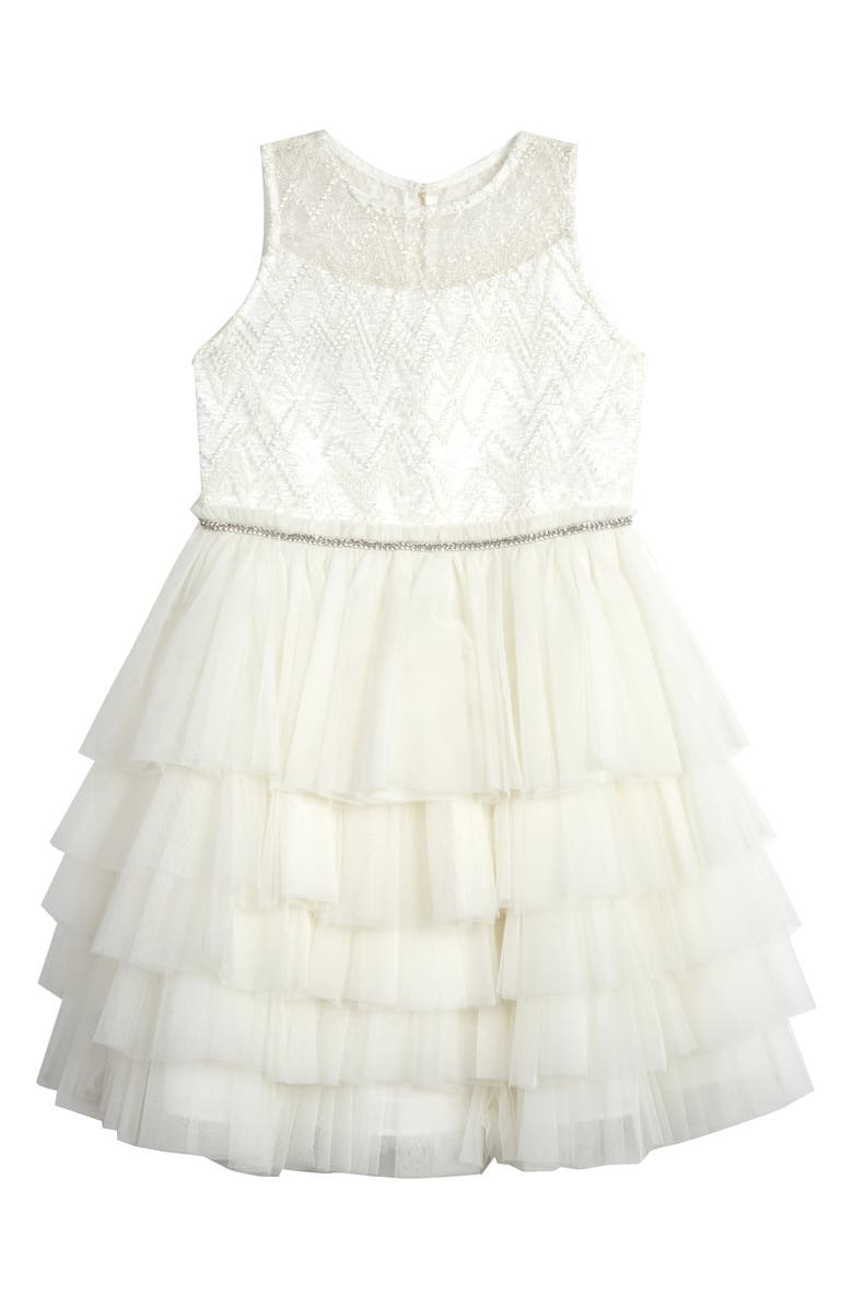 BADGLEY MISCHKA COLLECTION Beaded Tulle Party Dress, Main, color, IVORY
